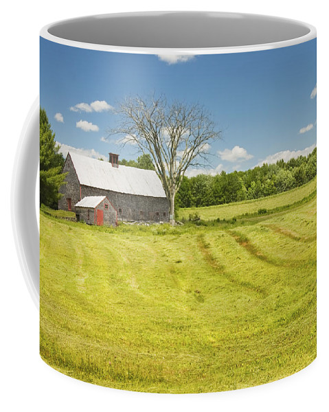 Farm Coffee Mug featuring the photograph Hay Being Harvested Near Barn In Maine by Keith Webber Jr