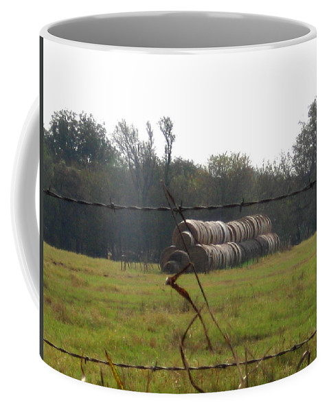 Coffee Mug featuring the photograph Hay Lined Up by Amy Hosp
