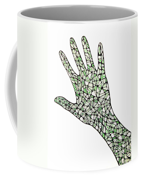 Hand Coffee Mug featuring the drawing Healing Hands 1 by Leanne Karlstrom