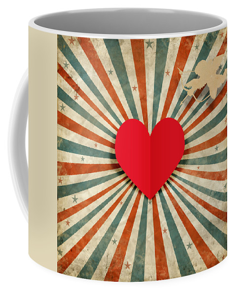 Antique Coffee Mug featuring the digital art Heart And Cupid With Ray Background by Setsiri Silapasuwanchai