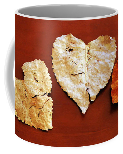 Leaves Coffee Mug featuring the photograph Heart Shaped Leaves by Optical Playground By MP Ray