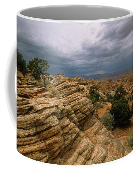 Day Coffee Mug featuring the photograph Heavy Clouds Over A Rocky Desert by Bill Hatcher