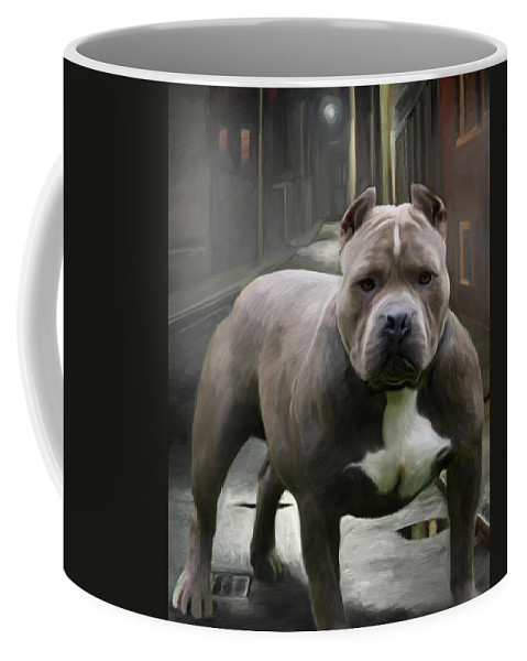 Dog Coffee Mug featuring the painting Hello There Big Fellah by Snake Jagger
