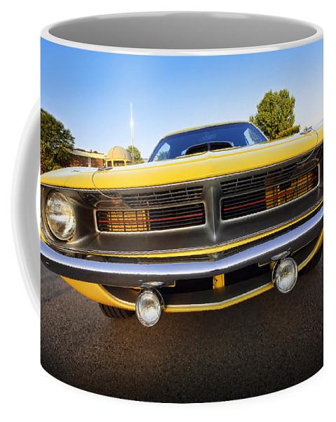 Yellow Coffee Mug featuring the photograph Hemi'cuda - 1970 by Gordon Dean II
