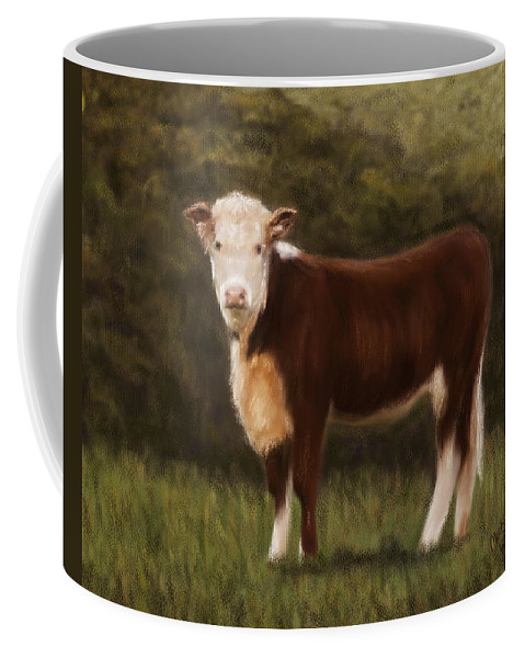 Cows Coffee Mug featuring the painting Hereford Heifer by Michelle Wrighton