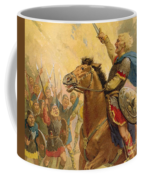 Hereward The Wake; Resistance; Warrior; Soldier; Fighter; Outlaw Coffee Mug featuring the painting Hereward The Wake by van der Syde