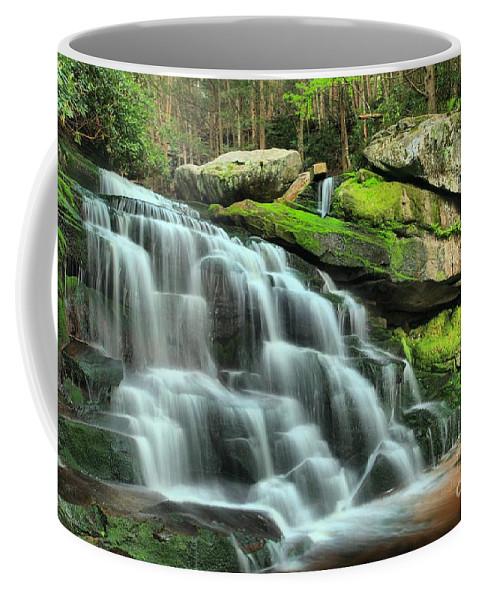 Black Water Falls State Park Coffee Mug featuring the photograph Hidden Elakala Falls by Adam Jewell