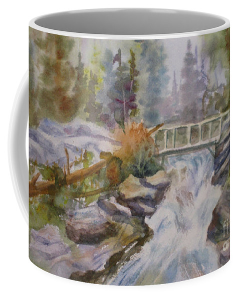 Waterfall Coffee Mug featuring the painting Hidden Falls Tetons by Mohamed Hirji