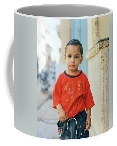Colorful India Coffee Mug featuring the photograph A Brahmin Boy by Shaun Higson