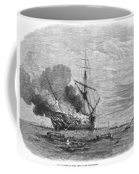1865 Coffee Mug featuring the photograph Hms Bombay Burning, 1865 by Granger