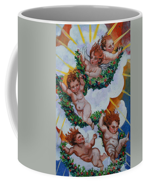 Angles Coffee Mug featuring the painting Holiday Spirit by Thomas J Nixon