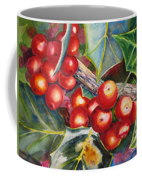 Christmas Coffee Mug featuring the painting Holly Barries by Mohamed Hirji
