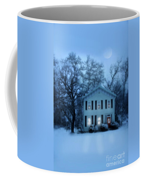 Home Coffee Mug featuring the photograph Home On A Wintery Evening by Jill Battaglia