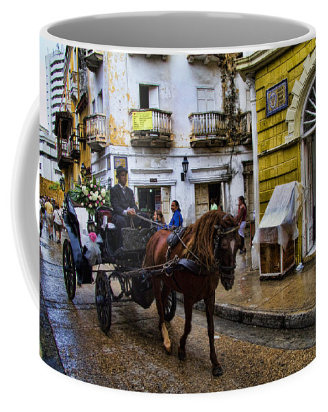 Cartagena Coffee Mug featuring the photograph Horse And Buggy In Old Cartagena Colombia by David Smith
