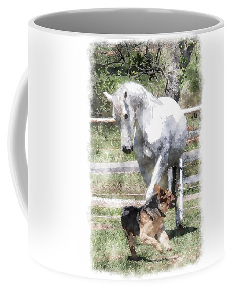 Horse Coffee Mug featuring the photograph Horse And Dog Play by Vicki Podesta