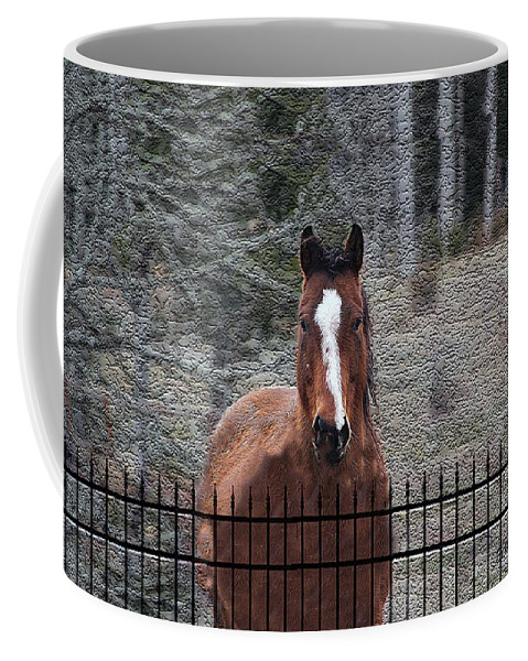 Digital Art Coffee Mug featuring the photograph Horse Behind The Fence by Ericamaxine Price