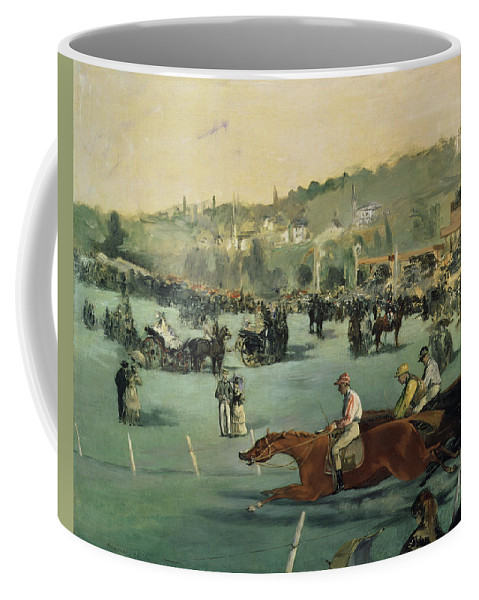 Impressionist; Landscape; Race Track; Course; Grandstand Coffee Mug featuring the painting Horse Racing by Edouard Manet