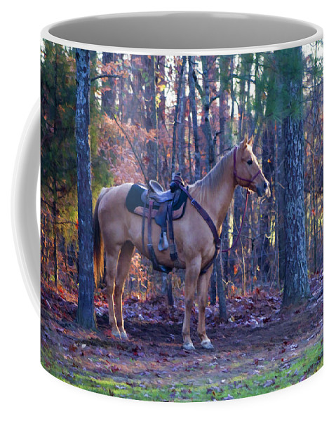 Horse Coffee Mug featuring the photograph Horse Waiting For Rider by Kathy Clark