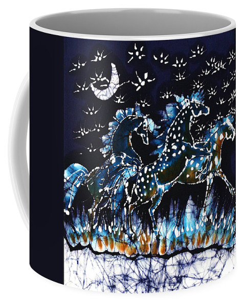 Horses Coffee Mug featuring the tapestry - textile Horses Frolic On A Starlit Night by Carol Law Conklin