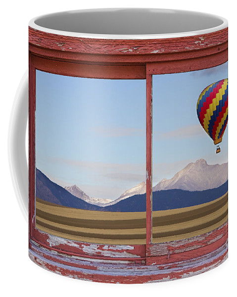 'hot Air Balloons' Coffee Mug featuring the photograph Hot Air Balloon And Longs Peak Red Rustic Picture Window View by James BO Insogna