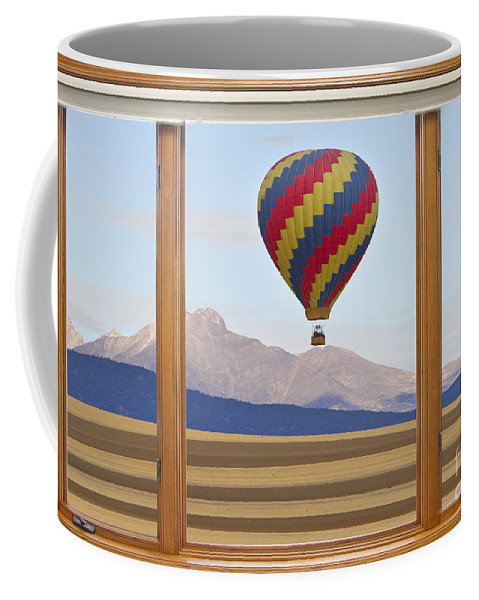 'hot Air Balloons' Coffee Mug featuring the photograph Hot Air Balloon Colorado Wood Picture Window Frame Photo Art Vie by James BO Insogna