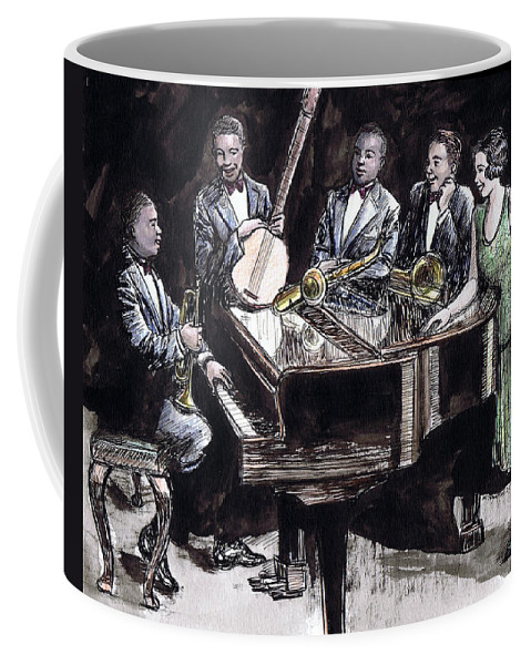 Nostalgia Coffee Mug featuring the drawing Hot Five by Mel Thompson