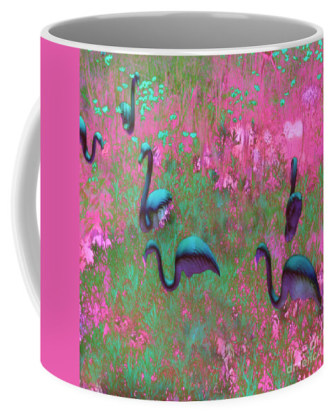 Pink Flamingos Coffee Mug featuring the photograph Hot Pink Flamingos Garden Abstract Art by Kathy Fornal