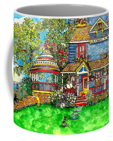 Victorian House Coffee Mug featuring the mixed media House Of Cats by Patty Fleckenstein