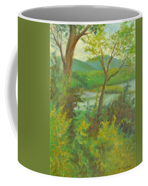 Landscape Coffee Mug featuring the painting Hudson Highlands View by Phyllis Tarlow