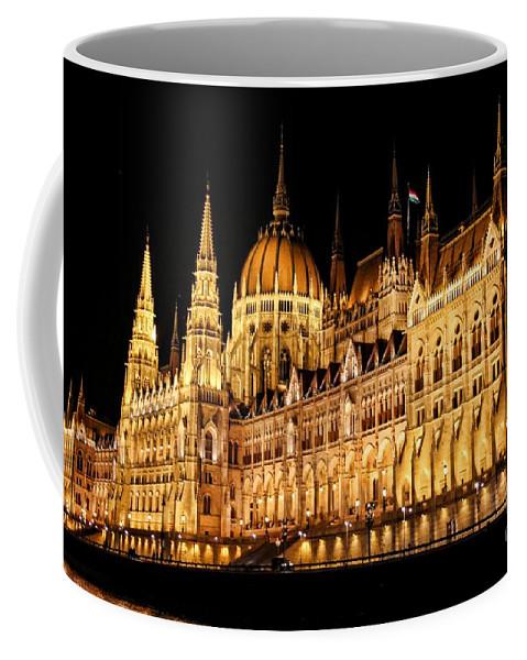 Hungarian Parliament Building Coffee Mug featuring the photograph Hungarian Parliament Building by Mariola Bitner