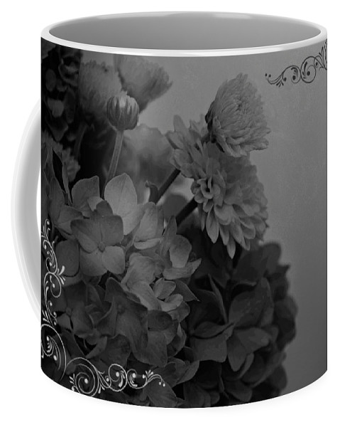 Nature Coffee Mug featuring the photograph Hydrangea Boquet Black And White by Debbie Portwood