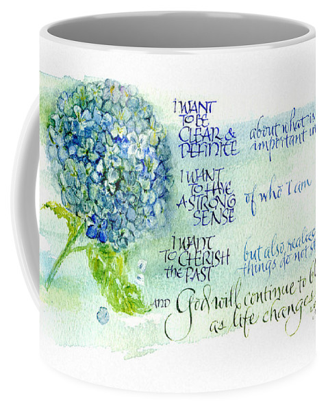 God Coffee Mug featuring the painting Hydrangea by Judy Dodds