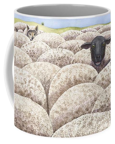 Sheep Coffee Mug featuring the painting I fear there may be wolves amongst us by Catherine G McElroy