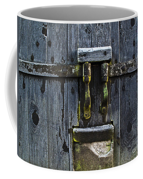 Door Coffee Mug featuring the photograph Ice Crystals On Wooden Gate by Heiko Koehrer-Wagner