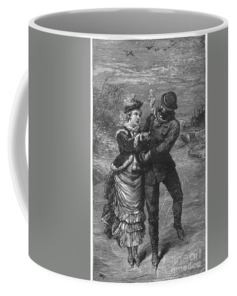 19th Century Coffee Mug featuring the photograph Ice Skating, 19th Century by Granger