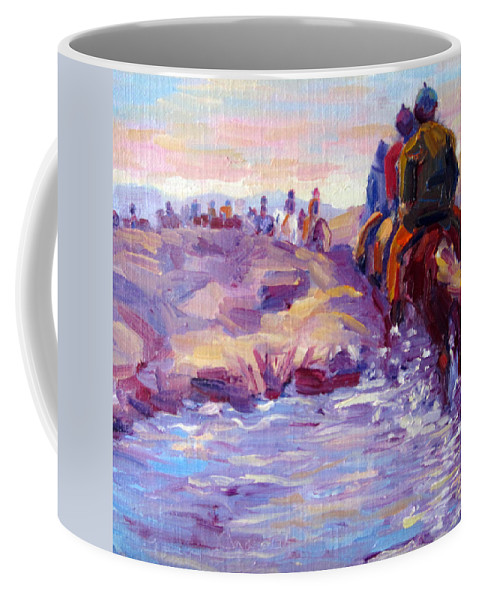 Iceland Coffee Mug featuring the painting Icelandic Horse Trail Ride by Terry Chacon