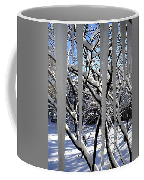 Icicles Coffee Mug featuring the painting Icicles by Renate Nadi Wesley