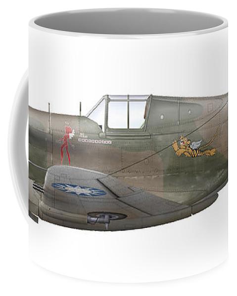 Livery Coffee Mug featuring the digital art Illustration Of A Curtiss P40-c Warhawk by Chris Sandham-Bailey