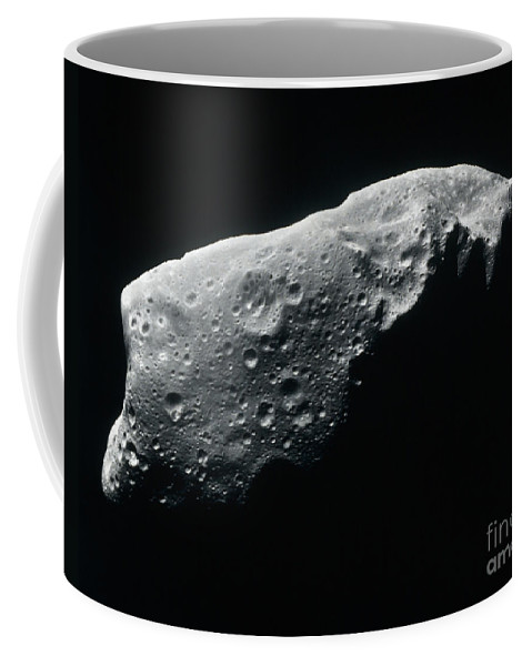Black And White Coffee Mug featuring the photograph Image Of An Asteroid by Stocktrek Images