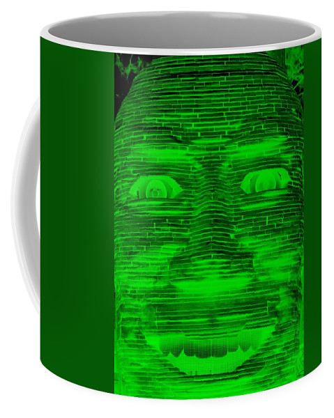 Architecture Coffee Mug featuring the photograph In Your Face In Negative Green by Rob Hans