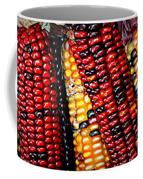 Indian Coffee Mug featuring the photograph Indian Corn by Kevin Fortier