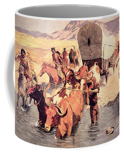 Cowboy Coffee Mug featuring the painting Indians Attacking A Pioneer Wagon Train by Frederic Remington