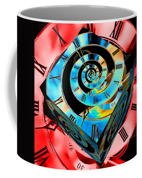 Clock Coffee Mug featuring the photograph Infinity Time Cube Blue On Red by Steve Purnell
