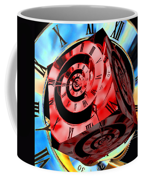 Clock Coffee Mug featuring the photograph Infinity Time Cube Red On Blue by Steve Purnell