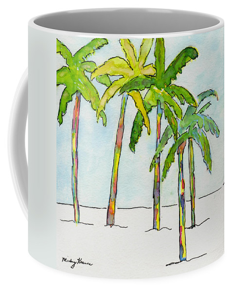 Palm Trees Coffee Mug featuring the painting Inked Palms by Mickey Krause