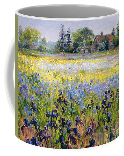 Landscape; Iris; Flower; Flowers; Irises; Tree; Trees; Field; House Coffee Mug featuring the painting Irises And Two Fir Trees by Timothy Easton