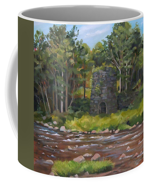Iron Coffee Mug featuring the painting Iron Furnace of Franconia New Hampshire by Nancy Griswold