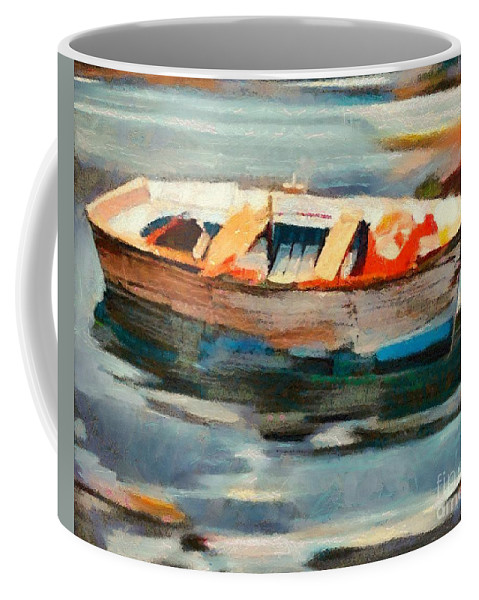 Boat Coffee Mug featuring the painting Istrian Fishing Boat by Dragica Micki Fortuna