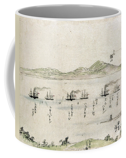 1854 Coffee Mug featuring the photograph Japan: Matthew Perry, 1854 by Granger