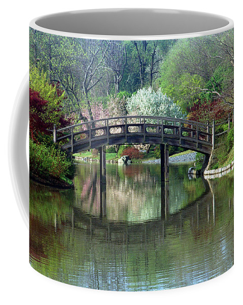 Japanese Bridge Coffee Mug featuring the photograph Japanese Bridge In Springtime by Greg Matchick
